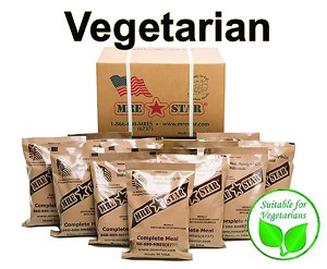 CASE OF 12 SINGLE COMPLETE MRE MEALS – VEGETARIAN VARIETY WITH HEATERS