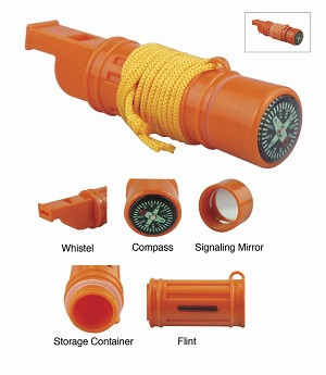 Survival Whistle 5-IN-1 Orange  with Lanyard